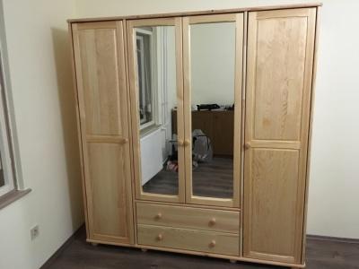 Szekrény - 4 ajtós - Tömör borovi fenyő, selyemfényű lakkozással, fiókos, tükrös, akasztós-polcos kivitel!